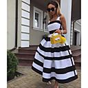Χαμηλού Κόστους Γυναικεία παπούτσια γάμου-Γυναικεία Βασικό Γραμμή Α Φόρεμα - Συνδυασμός Χρωμάτων Μίντι Τετράγωνη Λαιμόκοψη
