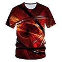 baratos Botas Femininas-Homens Camiseta Básico / Moda de Rua Estampado, Geométrica / 3D Vermelho