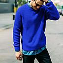 olcso Férfi dzsekik és kabátok-Férfi Egyszínű Hosszú ujj Pulóver Pulóver jumper, Kerek Ősz / Tél Fekete / Fehér / Arcpír rózsaszín US32 / UK32 / EU40 / US34 / UK34 / EU42 / US36 / UK36 / EU44