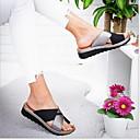 ราคาถูก รองเท้าแตะผู้หญิง-สำหรับผู้หญิง รองเท้าแตะ ส้นแบน ปลายกลม PU ฤดูร้อน สีดำ / เสือดาว / ขาว
