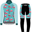 billiga Set med cykeltröjor och shorts/byxor-21Grams Flamingo Blommig Botanisk Herr Långärmad Cykeltröja och tights - Svart / Blå Cykel Träningsdräkter Vindtät UV-resistent Andningsfunktion sporter Vinter Fleece 100% Polyester Bergscykling
