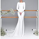 Χαμηλού Κόστους Νυφικά-Τρομπέτα / Γοργόνα Bateau Neck Ουρά Σατέν Μακρυμάνικο Mordern Εξώπλατο Φορέματα γάμου φτιαγμένα στο μέτρο με Κουμπί 2020