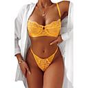 ราคาถูก ถุงเท้าและชุดชั้นใน-สำหรับผู้หญิง บราสายล่าง 3/4 cup ยกทรงและกางเกงในชุด สีพื้น สีดำ สีเหลือง