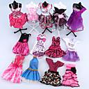 baratos Blocos de Montar-Vestido de boneca Para Barbie Rosa claro Poliéster Vestido Para Menina de Boneca de Brinquedo