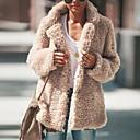 olcso Gyerek bakancsok-Női Napi Tél Szokványos Kabát, Egyszínű Hasított rever Hosszú ujj Poliészter Arcpír rózsaszín / Sötétszürke / Világos szürke