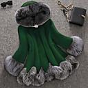 billiga Ballroom-skor och dansskor för modern dans-Dam Party / Arbete Streetchic / Sofistikerat Vinter Plusstorlekar Normal Faux Fur Coat, Enfärgad / Färgblock Huva Långärmad Fuskpäls Lappverk Grön / Svart / Rubinrött