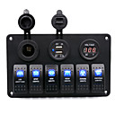 billige Kontakter til bilen-multifunksjonelt 6pins switch panel rv ship refitted usb sigarett lettere digital dsplay voltmeter