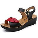 Χαμηλού Κόστους Παπούτσια χορού λάτιν-Γυναικεία Σανδάλια Τακούνι Σφήνα Στρογγυλή Μύτη Φο Δέρμα Καθημερινό / Μινιμαλισμός Ανοιξη καλοκαίρι Μαύρο / Πορτοκαλί / Μπλε
