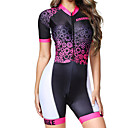 Χαμηλού Κόστους 3D κουρτίνες-BOESTALK Γυναικεία Κοντομάνικο Ολόσωμη στολή για τρίαθλο Ροζ / Μαύρο Ριγέ Gear Ποδήλατο Αναπνέει Ύγρανση Γρήγορο Στέγνωμα Ανατομικός Σχεδιασμός Πίσω τσέπη Αθλητισμός Spandex Ριγέ / Ελαστικό