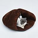 ราคาถูก ที่นอนและผ้าห่มสำหรับสุนัข-สุนัข กระต่าย แมว ที่นอน Sleeping Bag Cuddle Cave Bed เสื่อ & แผ่นปู ผ้าหรูหรา Plush สีพื้น สีเทา กาแฟ สีกากี