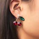 Χαμηλού Κόστους Σκουλαρίκια-Γυναικεία Πράσινο Κόκκινο Κουμπωτά Σκουλαρίκια Σκουλαρίκι Ρετρό Φρούτο Ρομαντικό Κορεάτικα Γλυκός Μοντέρνα χαριτωμένο στυλ Απομίμηση Μαργαριταριού Προσομειωμένο διαμάντι Σκουλαρίκια Κοσμήματα Χρυσό