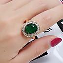 billige Graverte Ringer-Dame Ring 1pc Grønn Glass Legering Rund Luksus Klassisk Vintage Daglig Skole Smykker Vintage Stil