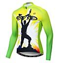 ราคาถูก ชุดเซทปั่นจักรยาน-21Grams สำหรับผู้ชาย แขนยาว Cycling Jersey สีเขียว แปลกใหม่ จักรยาน เสื้อยืด Tops ขี่จักรยานปีนเขา Road Cycling ทน UV ระบายอากาศ Moisture Wicking กีฬา เส้นใยสังเคราะห์ Elastane Terylene เสื้อผ้าถัก