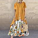 Χαμηλού Κόστους Τσάντες χιαστί-Γυναικεία Swing Φόρεμα - Συνδυασμός Χρωμάτων Μακρύ