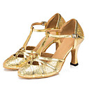 ราคาถูก รองเท้าเต้นโมเดิร์นและรองเท้าบัลเล่ต์-สำหรับผู้หญิง รองเท้าเต้นรำ Microfibre โมเดอร์น ส้น ส้นแบบกำหนดเอง ตัดเฉพาะได้ สีทอง / สีเงิน / ในที่ร่ม