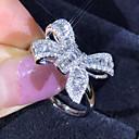 billiga Syntetiska peruker utan hätta-Dam Ring 1st Silver Diamantimitation Legering Lyx Koreanska Mode Dagligen Skola Smycken Vintage Stil Rosett