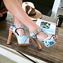 ราคาถูก รองเท้าแตะผู้หญิง-สำหรับผู้หญิง รองเท้าแตะ ส้นหนา ที่สวมนิ้วเท้า หัวเข็มขัด PU หวาน / minimalism ฤดูใบไม้ผลิ & ฤดูใบไม้ร่วง / ฤดูร้อนฤดูใบไม้ผลิ สีดำ / ขาว / ฟ้า