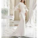 baratos Maletas Executivas-Sereia Bateau Neck Cauda Corte Cetim Manga 3/4 Vestidos de casamento feitos à medida com Pregueado 2020