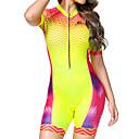 Χαμηλού Κόστους Φώτα νησί-BOESTALK Άνθινο / Βοτανικό Γυναικεία Κοντομάνικο Ολόσωμη στολή για τρίαθλο - Κόκκινο / Κίτρινο Ποδήλατο τρίαθλο Αναπνέει Ύγρανση Γρήγορο Στέγνωμα Αθλητισμός Spandex Ποδηλασία Βουνού Ποδηλασία Δρόμου