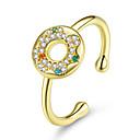 billige Vaskehåndklæ-søt kake smultringer runde fingerringer for kvinner gratis størrelse justerbar ring korea mote 925 sterling sølv smykker