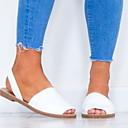 povoljno Modne narukvice-Žene Sandale Ravna potpetica Peep Toe Kopča Brušena koža Ljeto Crn / Obala / Pink