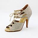 baratos Brincos-Mulheres Sapatos de Dança Sintéticos Sapatos de Dança Latina Pedrarias / Detalhes em Cristal / Cristal / Strass Salto Salto Alto Magro Personalizável Dourado / Prateado / Espetáculo / Couro