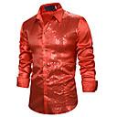 baratos Roupas de Dança Latina-Homens Camisa Social Básico Paetês, Sólido Azul / Vermelho Preto