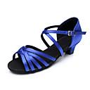 Χαμηλού Κόστους Παπούτσια χορού λάτιν-Γυναικεία Παπούτσια Χορού Σατέν Παπούτσια χορού λάτιν Τακούνια Πυκνό τακούνι Εξατομικευμένο Καφέ / Κόκκινο / Μπλε / Επίδοση / Δέρμα