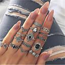 Χαμηλού Κόστους Τσάντες χιαστί-Γυναικεία Σετ δαχτυλιδιών Δαχτυλίδι για πολλά δάχτυλα 15pcs Ασημί Κράμα Βίντατζ Ευρωπαϊκό Μοντέρνα Πάρτι Καθημερινά Κοσμήματα Ρετρό Κρεμαστό Λουλούδι Lotus