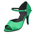 baratos Sapatos de Dança Latina-Mulheres Sapatos de Dança Cetim Sapatos de Dança Latina Cristal / Strass / Recortes Salto Salto Alto Magro Personalizável Verde / Espetáculo
