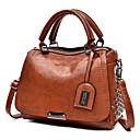 cheap Top Handles & Tote Bags-Women's Zipper / Tassel PU Top Handle Bag Solid Color Black / Brown / Blue