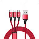 Χαμηλού Κόστους Καλώδια κινητού τηλεφώνου-Micro USB / Φωτισμός / Τύπος-C Καλώδιο 1.3m (4.3Ft) Όλα-σε-1 / Πλεκτό / 1 ως 3 Νάιλον Προσαρμογέας καλωδίου USB Για iPad / Samsung / Huawei