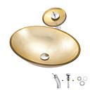 Χαμηλού Κόστους Ράφια Μπάνιου-Νιπτήρας μπάνιου / Βρύση μπάνιου / Κρίκος πετσετών μπάνιου Σύγχρονο - Σκληρυμένο Γυαλί Ορθογώνιο Vessel Sink