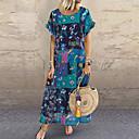 Χαμηλού Κόστους Γυναικεία Πέδιλα-Γυναικεία Swing Φόρεμα - Συνδυασμός Χρωμάτων Μακρύ