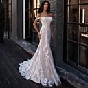 Χαμηλού Κόστους Νυφικά-Τρομπέτα / Γοργόνα Καρδιά Ουρά μέτριου μήκους Δαντέλα Κανονικοί ιμάντες Μπόχο Illusion Λεπτομέρειες Φορέματα γάμου φτιαγμένα στο μέτρο με Δαντέλα 2020