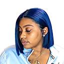 baratos Perucas Sintéticas com Renda-Perucas Lace Front Sintéticas Liso Parte do meio Frente de Malha Peruca Curto Azul Cabelo Sintético 8-10 polegada Mulheres Ajustável Resistente ao Calor Festa Azul