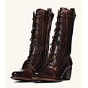 olcso Női csizmák-Női Csizmák Kényelmes cipők Vaskosabb sarok Erősített lábujj PU Magas szárú csizmák Édes / minimalizmus Tavasz & Ősz / Tavaszi nyár Fekete / Barna