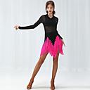 povoljno Odjeća za latino plesove-Latino ples Haljine Žene Seksi blagdanski kostimi Spandex S resicama / Kombinacija materijala Dugih rukava Haljina