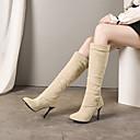 billige Damestøvler-Dame Støvler Knehøye Støvler Stiletthæl Rund Tå PU Knehøye støvler Vintage / Britisk Høst vinter Svart / Beige / Fest / aften