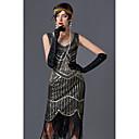 Χαμηλού Κόστους Στολές της παλιάς εποχής-Τσάρλεστον Θύσανος 1920s Gatsby Δροσμός 20ετών Φανελάκι φόρεμα Γυναικεία Πούλια Στολές Μαύρο / Χρυσαφί / Πράσινο / Μαύρο Πεπαλαιωμένο Cosplay Πάρτι Χοροεσπερίδα Αμάνικο Μέχρι το γόνατο