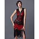 Χαμηλού Κόστους Στολές της παλιάς εποχής-The Great Gatsby Τσάρλεστον 1920s Χρυσή δεκαετία του '20 Δροσμός 20ετών Φανελάκι φόρεμα Κοστούμι πάρτι Χορός μεταμφιεσμένων Κοκτέιλ Φόρεμα Γυναικεία Πούλιες Φούντα Spandex Στολές Κόκκινο Πεπαλαιωμένο