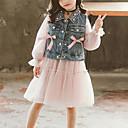 povoljno Haljine za djevojčice-Djeca Djevojčice Aktivan Ulični šik Izlasci Ležerno / za svaki dan Kolaž Perlice Mašna Mrežica Bez rukávů Dugih rukava Kratka Komplet odjeće Blushing Pink