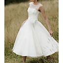 Χαμηλού Κόστους Γυναικεία παπούτσια γάμου-Γραμμή Α Με Κόσμημα Midi Τούλι Κανονικοί ιμάντες Φορέματα γάμου φτιαγμένα στο μέτρο με Φτερά / Γούνα / Ζωνάρια / Κορδέλες 2020