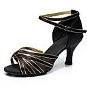 Χαμηλού Κόστους Παπούτσια χορού λάτιν-Γυναικεία Παπούτσια Χορού Σατέν Παπούτσια χορού λάτιν Τακούνια Λεπτή ψηλή τακούνια Εξατομικευμένο Μαύρο και Χρυσό / Επίδοση