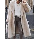 billiga Jewelry Set-Dam Dagligen Höst vinter Lång Faux Fur Coat, Enfärgad Rullad krage Långärmad Fuskpäls Vit / Rodnande Rosa / Gul / Smal