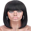 זול פיאות תחרה משיער אנושי-שיער ראמי חזית תחרה פאה בנג מסודר בסגנון שיער ברזיאלי ישר שחור פאה 130% צפיפות שיער בגדי ריקוד נשים קצר פיאות תחרה משיער אנושי beikashang