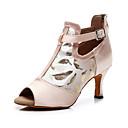 baratos Brincos-Mulheres Sapatos de Dança Seda / Couro Sintético Sapatos de Dança Latina Salto Salto Carretel Personalizável Nú / Espetáculo