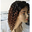 cheap Hair Pieces-Virgin Human Hair Remy Human Hair Lace Front Wig Layered Haircut Middle Part Side Part style Brazilian Hair Deep Curly Wig 130% Density Natural Color Gradient Natural Hairline African American Wig