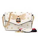 ราคาถูก กระเป๋าสะพายข้าง-สำหรับผู้หญิง ของประดับด้วยลูกปัด / มุก เส้นใยสังเคราะห์ / PU Crossbody Bag เลขาคณิต สีดำ / ขาว / สีแดงชมพู