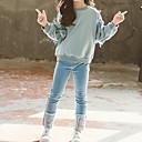 billiga Flickklänningar-Barn Flickor Kineseri Bomull Enfärgad Rosett Långärmad Normal Normal Bomull Klädesset Blå